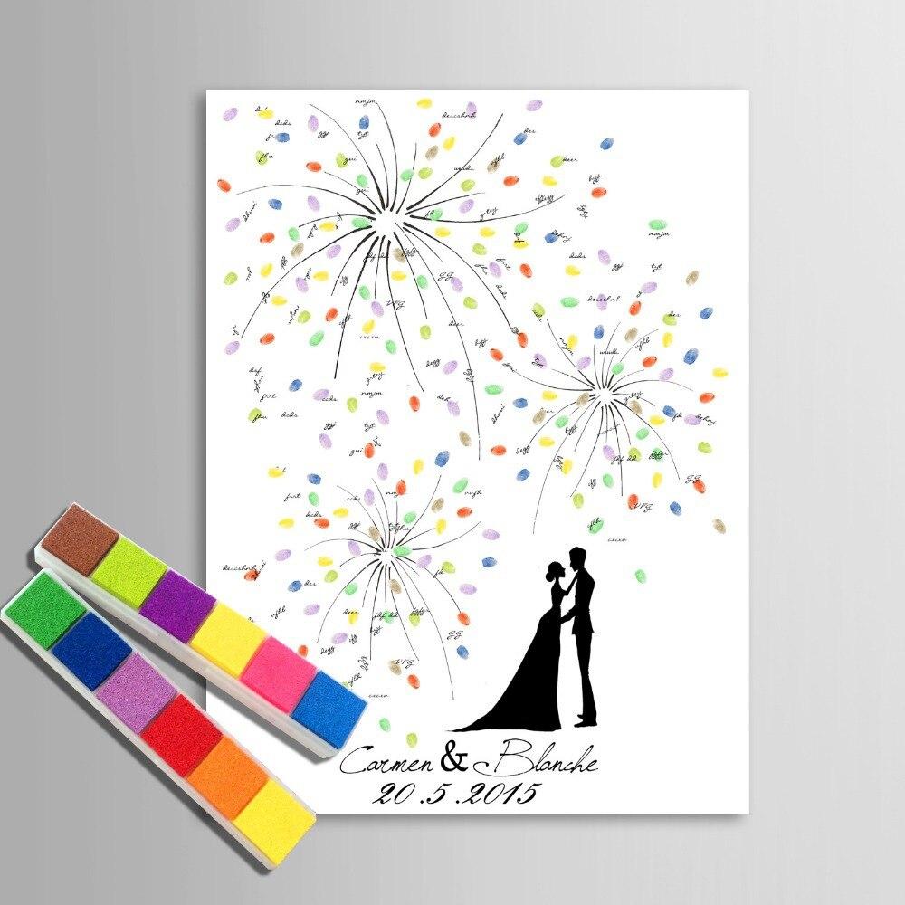 Guest Book Alternative Thumbprint Wedding Tree Fingerprint: Personalized Fingerprint Wedding Guest Book Tree