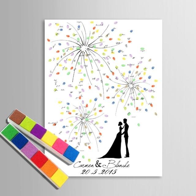 Personalized Fingerprint Wedding Guest Book Tree Alternatives Diy Signature