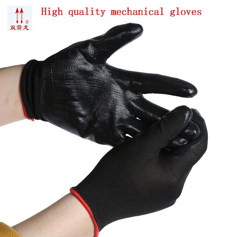 2017 new black nitrile glove mechanic gloves work super wear-resistant and flexible glove10 / bag