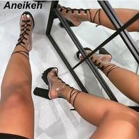 Aneikeh 2019 Leisure PVC Sandals Women Shoes Platform Lace Up Transparent Square High Heels Peep Toe Summer Casual Black Size 40