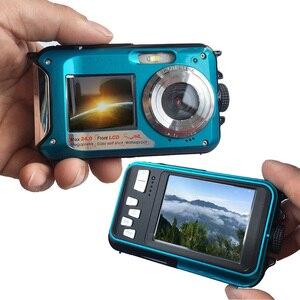 Image 3 - HD 1080P wodoodporny aparat cyfrowy podwójne ekrany (tył 2.7 cala + przód 1.8 cala) 16 krotny Zoom kamera podwodna Cam (DC998)