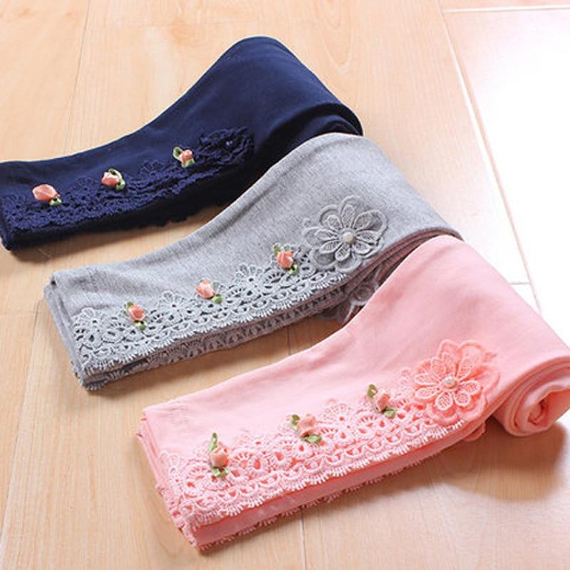 Girls Winter Leggings 2018 Autumn Baby Girls Kids Pants Pure Color Flower Edge Legging For Girls Cotton Trousers Dance Pants