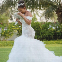 2019 New African Sexy Off Shoulder Mermaid Wedding Dress Ruffles Lace Wedding Gown Plus Size Wedding Gown