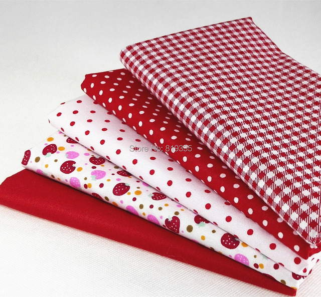 5 PCS 40CM*50CM Red dot 100% cotton doll cloth tissue DIY twill fabric patchwork quilting fabric for baby  craft sewing tecidos