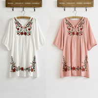 New 2015 Hot Sale Vintage 70s Mexican Ethnic Floral EMBROIDERED Hippie Blouse DRESS Women Clothing Vestidos