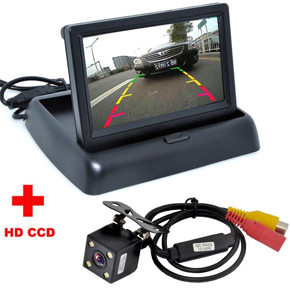 Nueva cámara de visión nocturna 4LED CCD de visión trasera de coche con Monitor de cámara de vídeo plegable LCD de 4,3 pulgadas a Color para coche asistencia de estacionamiento para coche
