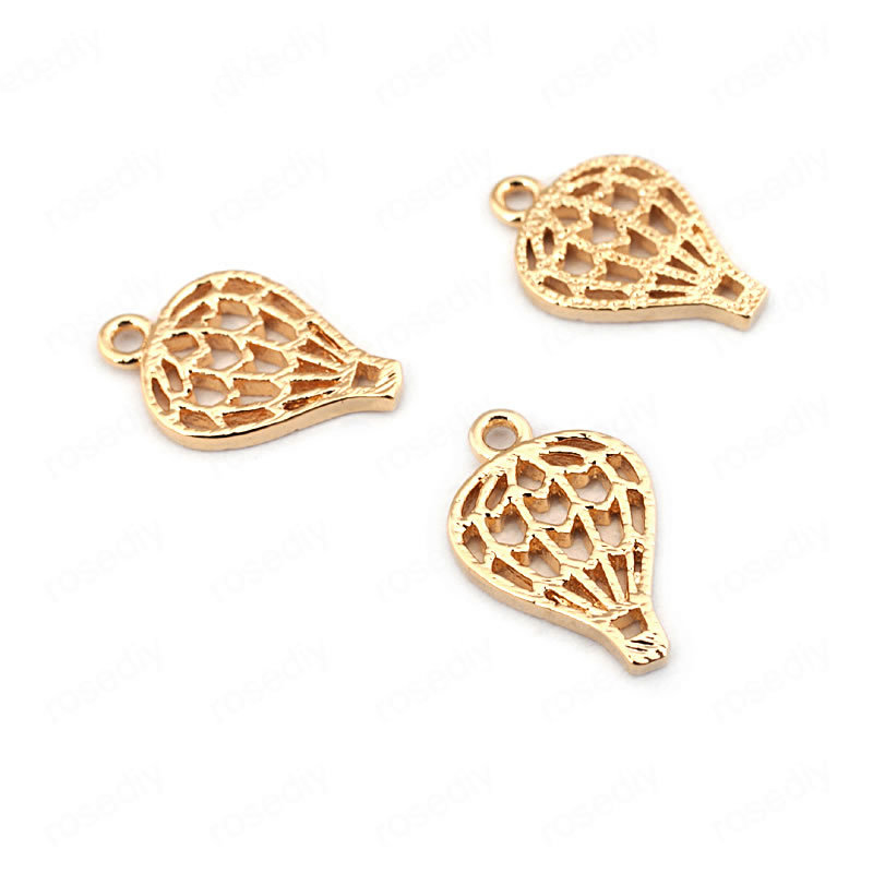 (33549)10PCS 13*9MM 24K Gold Color Brass Hot Air Balloon Charms Pendants High Quality Diy Jewelry Findings Accessories wholesale