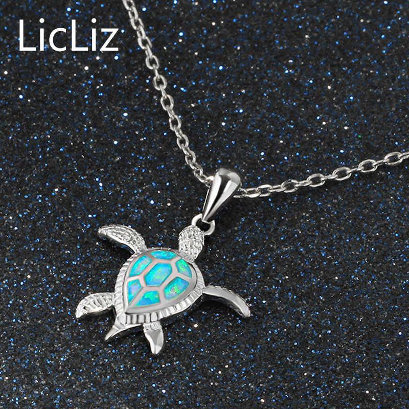 LicLiz ожерелье с черепашкой из стерлингового серебра 925 пробы женское ожерелье с подвеской ожерелье из цепочек LN0265