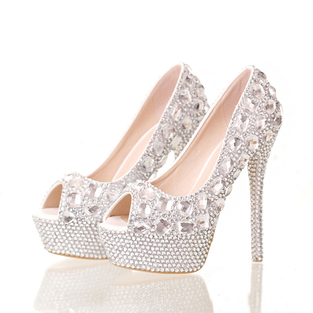Handmade Elegant High Heel Stilettos Bridal Shoes Silver Diamond Wedding  Shoes Peep Toe Platforms Rhinestone Prom Party Shoes 852ae15f8f5f