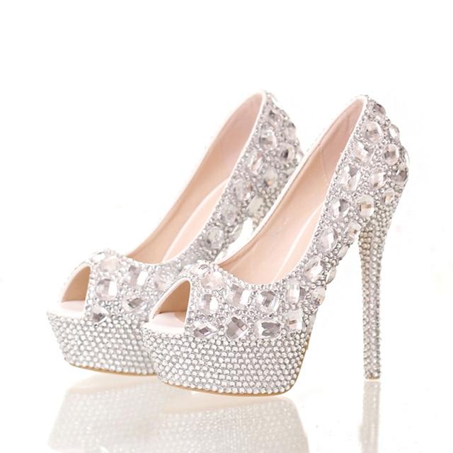 12430f982cf50f Handmade Elegant High Heel Stilettos Bridal Shoes Silver Diamond Wedding  Shoes Peep Toe Platforms Rhinestone Prom Party Shoes