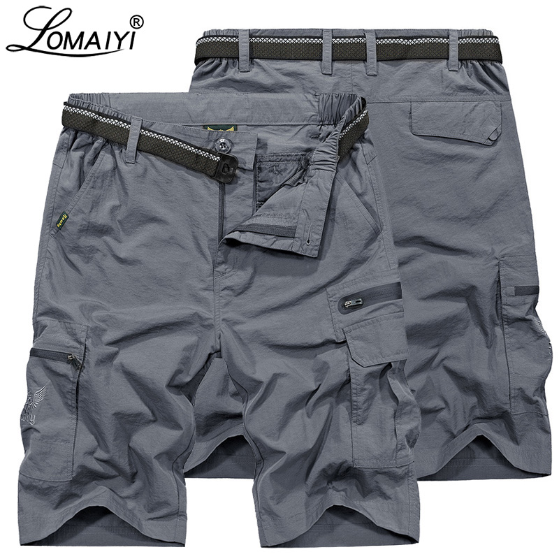 LOMAIYI 2019 NEW Men's Cargo Shorts Men Military Style Summer Shorts Mens Beach Short Waterproof Casual Shorts For Man AM369