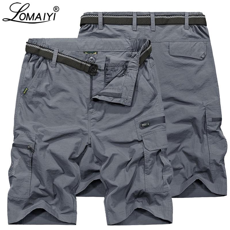 LOMAIYI 2019 NEW Men's Cargo Shorts Men Military Style Summer Shorts Mens Beach Short Waterproof Casual Shorts For Man AM369