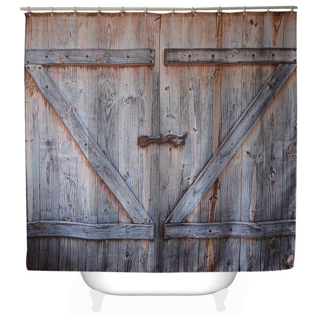 "Svetanya 71x71"" Wood Door Print Shower Curtains Bath Products Bathroom Decor with Hooks Waterproof"