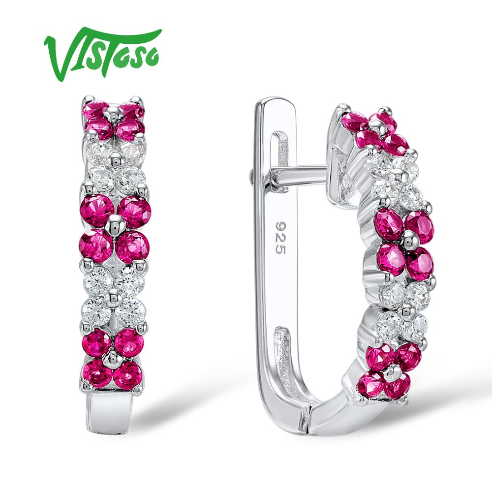VISTOSO Stud Earrings Pink Flower Created Ruby Round White Cubic Zirconia High Quality Stud Earrings Fine Jewelry