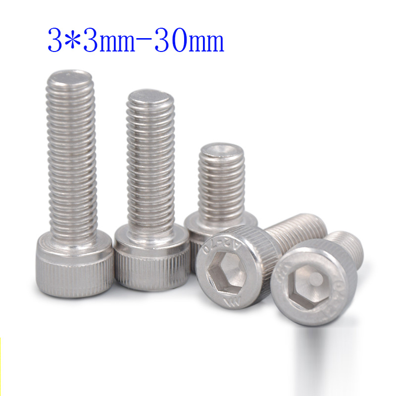 100pcs / lot, round head hexagon screw M3 * <font><b>3mm</b></font>-30mm, 304 stainless steel <font><b>bolts</b></font>, free shipping image