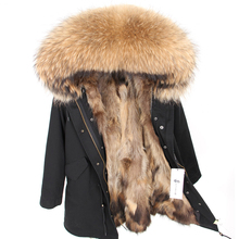 купить Winter Jacket Women 2019  Real Fur Coat Long Parka Natural Raccoon Fur Collar Fox Fur Liner Thick Warm Streetwear Outerwear New дешево