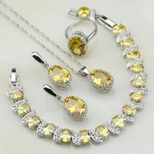 Корона желтый кубического циркония стерлингового серебра 925 люкс Комплекты ювелирных украшений для женщин Свадебные серьги/кулон/Цепочки и ожерелья/браслет/ кольцо