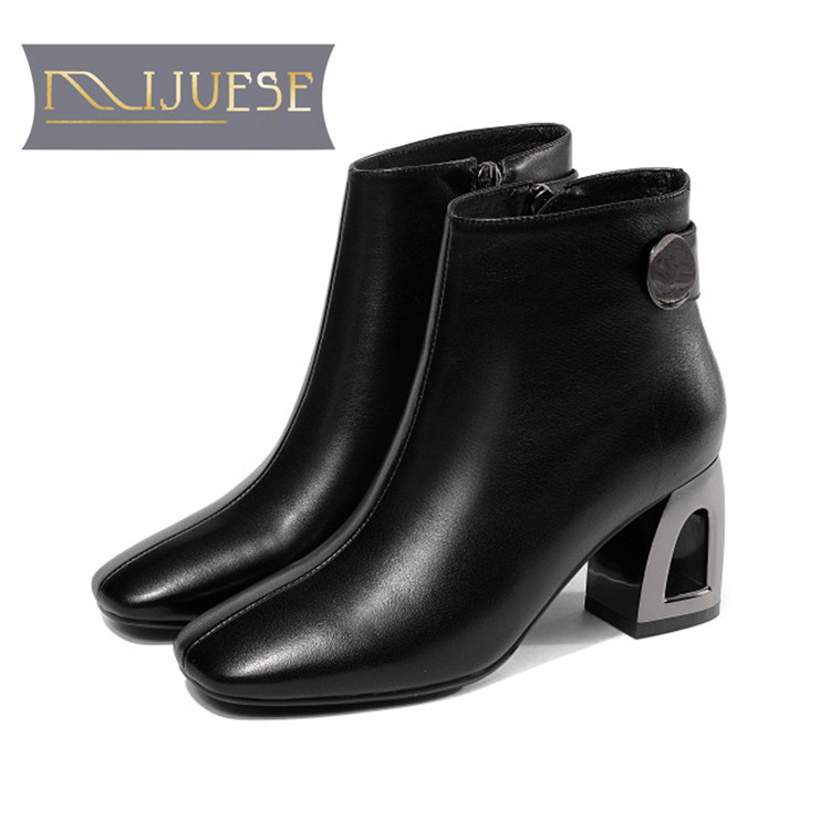 MLJUESE 2019 women ankle boots soft cow leather zippers green color high heels boots winter short plush boots size 34-41 marulong s0002 women s fashionable flower pattern short sleeved nightdress green multi color
