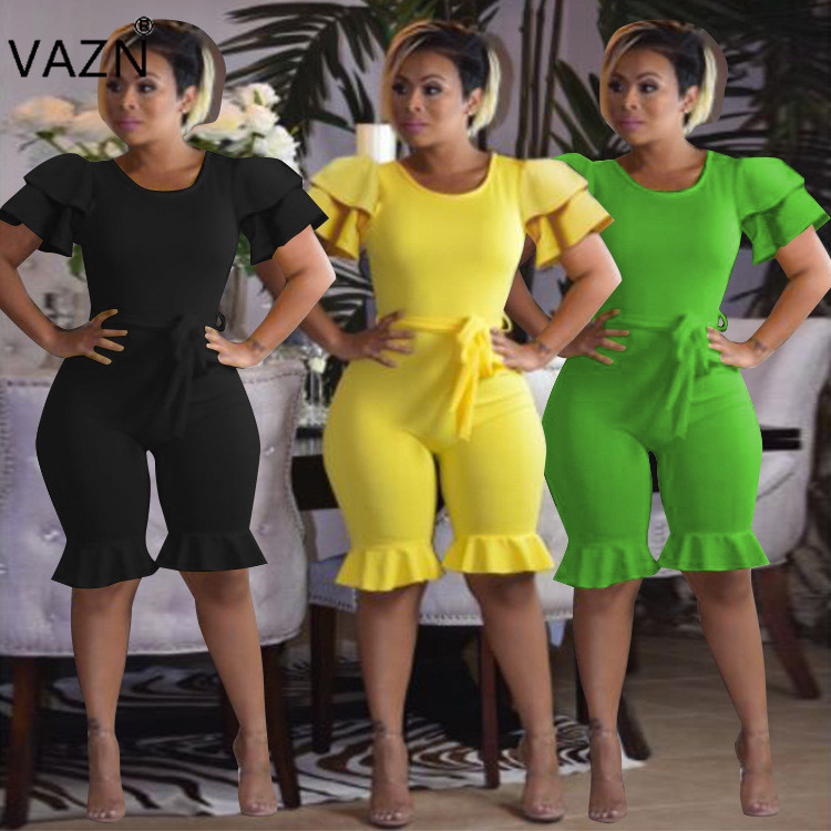 VAZN 2018 Design Hot Sale Women Skinny Playsuits 3 Colors O-neck Short sleeve Ruffles Comfortable Plus Size Romper F8118