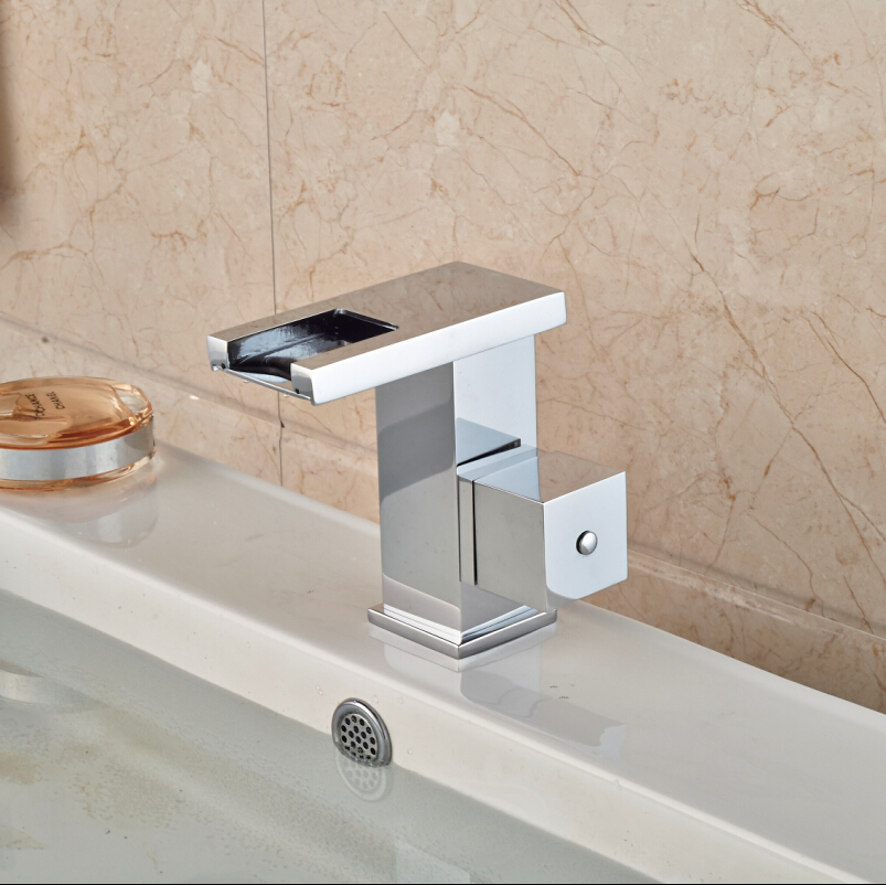 Free Shipping Square Handle Waterfall Basin Sink Faucet Deck Mount One Hole Hot Cold Water Taps