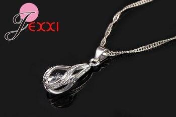 New Water Drop CZ Jewelry Sets 925 Sterling Silver Necklace&Earrings Wedding Jewelry For Women Wedding Party  Zircon Sets 3