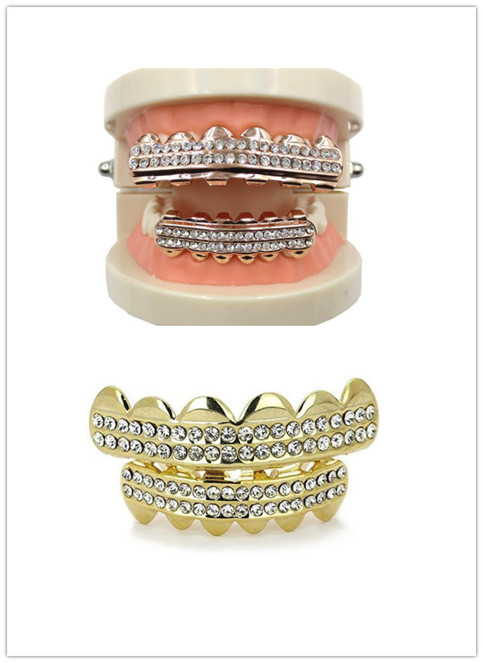 Gold Color Plated Iced Out Letter CZ Rhinestone Hip Hop Teeth Mouth Caps Top Bottom Grills Set Punk Fake Tooth Caps Cosplay Rock