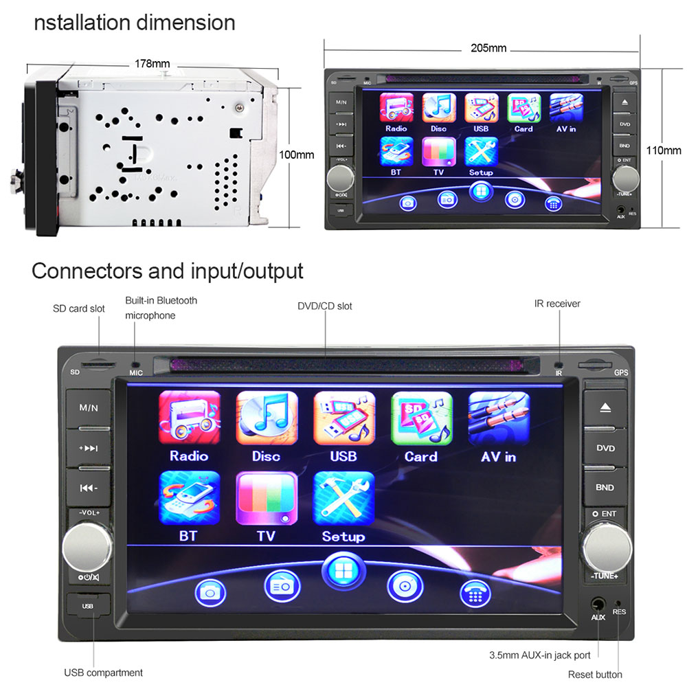 Double Din 7'' Video Player for Toyota Car DVD Stereo Radio Video Player  with Digital Touch Screen Player for Toyota cars - us98