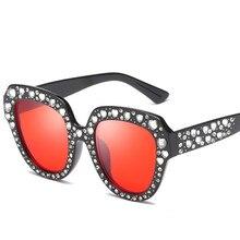 Summer Retro Oversized Women Sunglasses Luxury Rhinestone Vintage Sun Glasses Female Reflective