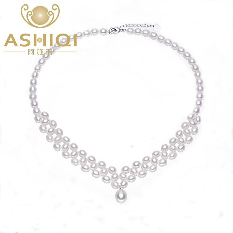 ASHIQI collier de perles d'eau douce naturelles avec véritable 925 fermoir en argent Sterling perle bijoux pour les femmes mariée mariage