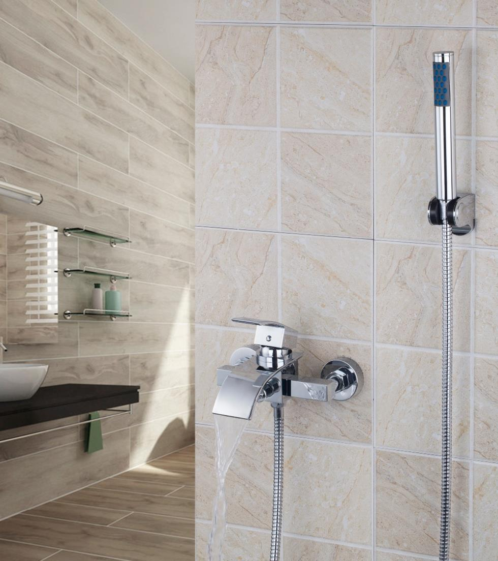 Chrome 8256S/4 Bathroom Waterfall Spout Wall Mounted Bathroom Bath Tap Mixer Bathtub Faucet gappo classic chrome bathroom shower faucet bath faucet mixer tap with hand shower head set wall mounted g3260