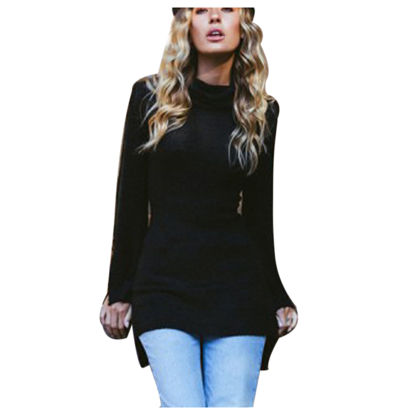 MYPF-Women Fashion Sweaters for Ladies New Autumn Winter Turtleneck Full Flare Sleeve Split Design Long Pullover Sweater Femal