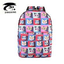 Ziweixing милый кот женщин рюкзак высокое качество красочные холст Kitty Рюкзаки маленькие школьные сумки для девочек Mochilas Mujer 2017