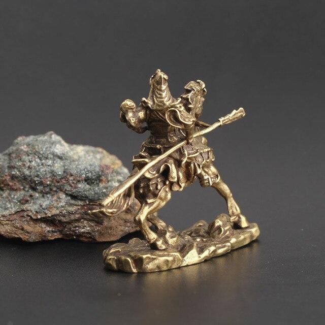 Brass Riding Guan Gong Decoration Bronze Statue Wucai God Guan Yu Dadao Guan Erye Statue Office Buddha Decoration Desk