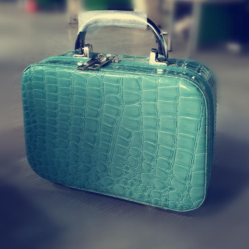 2017 Crocodile Jewellery Makeup Box Cosmetic Storing Small Square Handbag Travel Pockets Organizer Bag F407