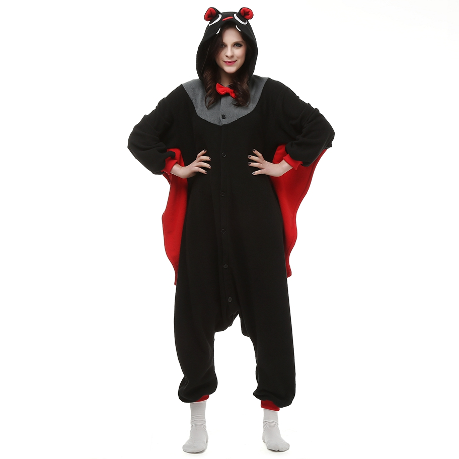 Adults Polar Fleece Kigurumi Cosplay Costume Black Bat Cartoon Animal Onesies Pajamas Halloween Carnival Party Jumpsuit
