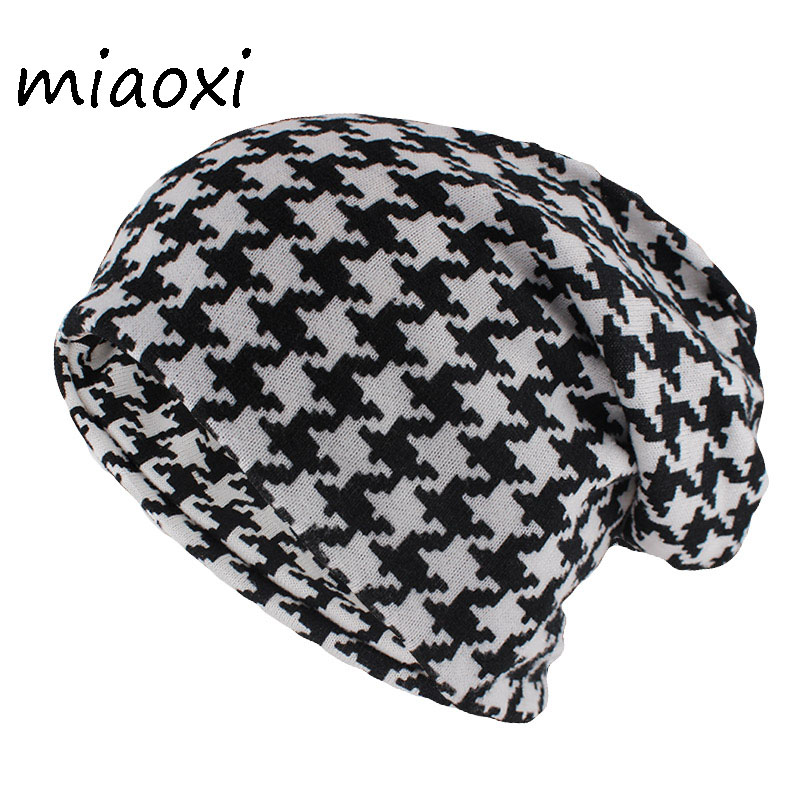Miaoxi Hip Hop Women Fashion Hat Houndstooth Autumn Warm Beanies Skullies Plaid Casual Gorros Soft Scarf Double Use Adult Hats