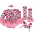 4PCs per Set Pink Floral Printed Baby Girls Long Sleeves Tutu Dress Headband Shoes Leggings for 0-12months Free Shipping