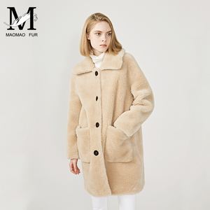 Image 5 - MAOMAOFUR 100% Real Sheep Fur Coat Women New Fashion Warm Thick Long Style Fur Outerwear Ladies Real Wool Coat