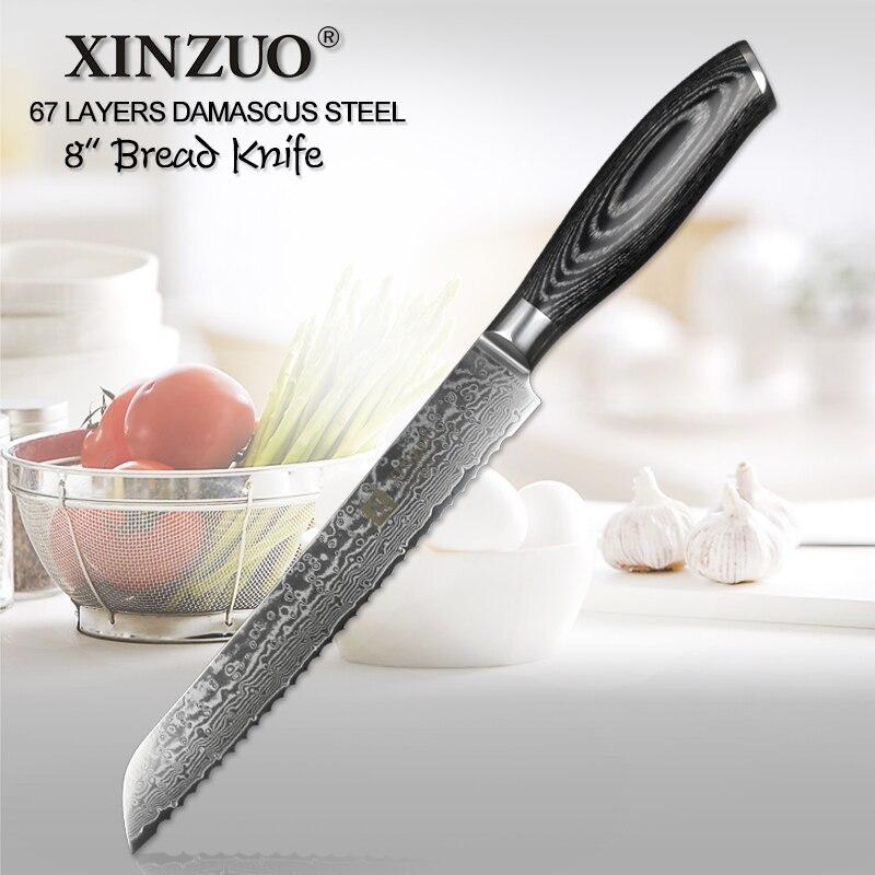 """XINZUO 8 """"سكين تقطيع الخبز 67 طبقات اليابانية دمشق الفولاذ المقاوم للصدأ سكاكين المطبخ عالية الجودة VG10 سكينة تقطيع الكيك Pakka الخشب مقبض-في سكاكين مطبخ من المنزل والحديقة على  مجموعة 1"""