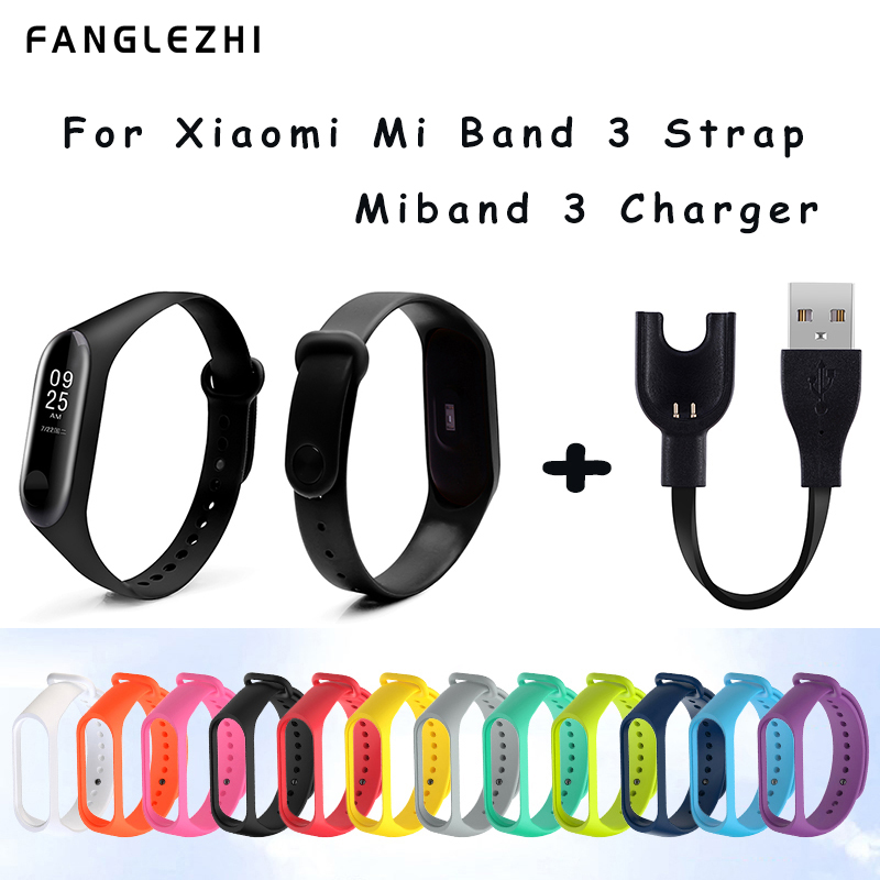 Mi Band 3 Strap Wrist Strap For Xiaomi Mi Band 3 Charger Cable For Xiaomi Miband 3 Silicone Wrist Strap Miband 3 Charging Line
