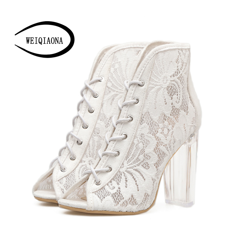 WEIQIAONA 2018 New Women Sexy Lace Sandal Boots Cross Bandage Foot Ring Banda Hollowe Transparent Crystal High Heels Party Shoes