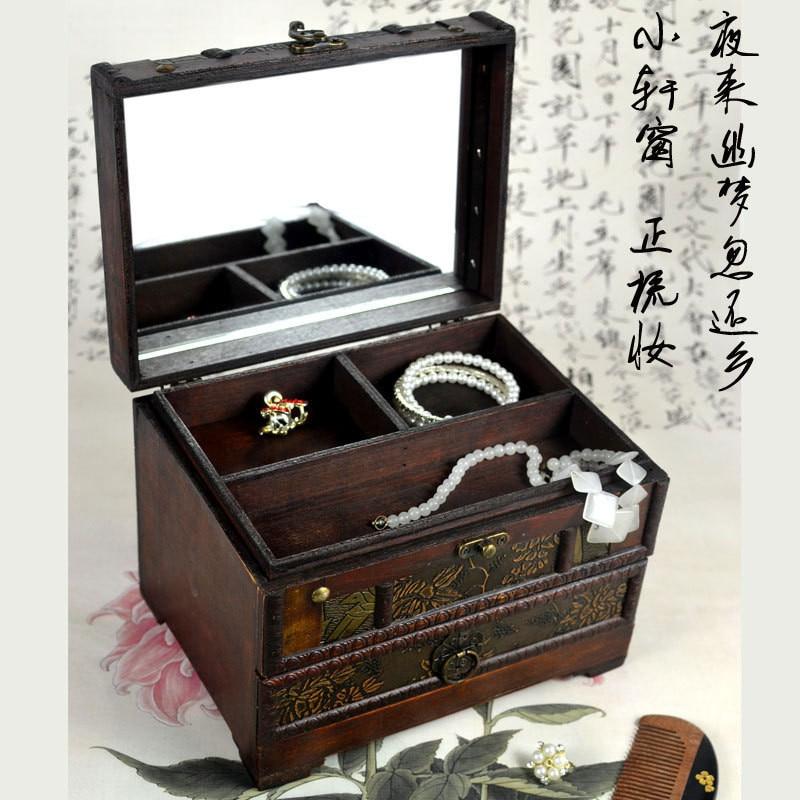 Vintage rétro boîte de rangement en bois boîte à bijoux en bois boîte à cosmétiques Articles divers bureau artisanat Articles d'ameublement