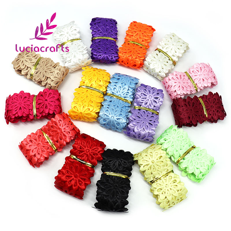Lucia ремесла 2y/мм lot 40 мм Multi Цвет выдалбливают Ленты с цветами Швейные изделия ручной работы отделкой кружево украшение интимные аксессуары 040051037