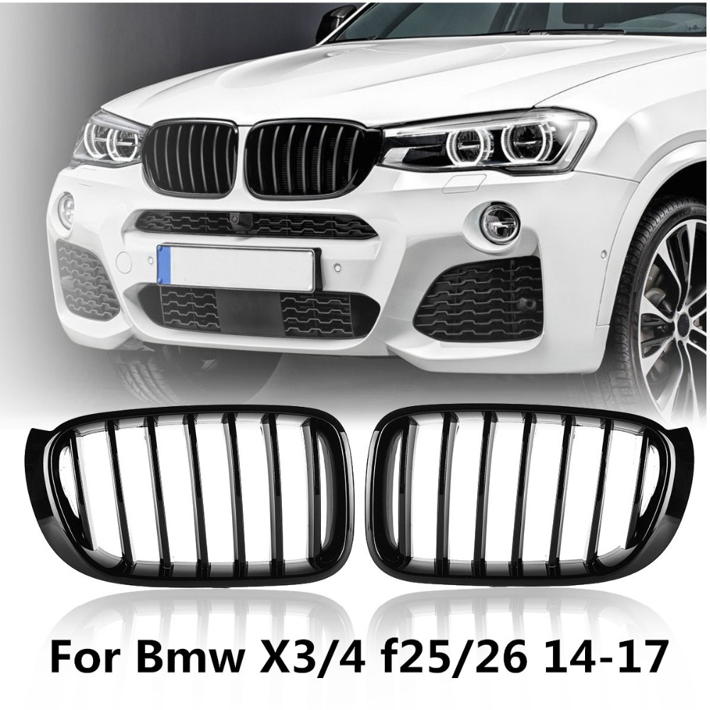 Pair Gloss Matt Black M Color Front Kidney Grill Grille For BMW X3 F25 2014 2015