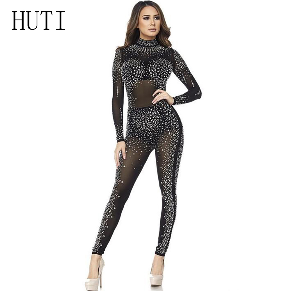 HUTI Women Jumpsuit Sparkly Rhinestone Diamonds Jumpsuits Long Sleeve See Through Mesh Bodysuits Club Party One Piece Romper