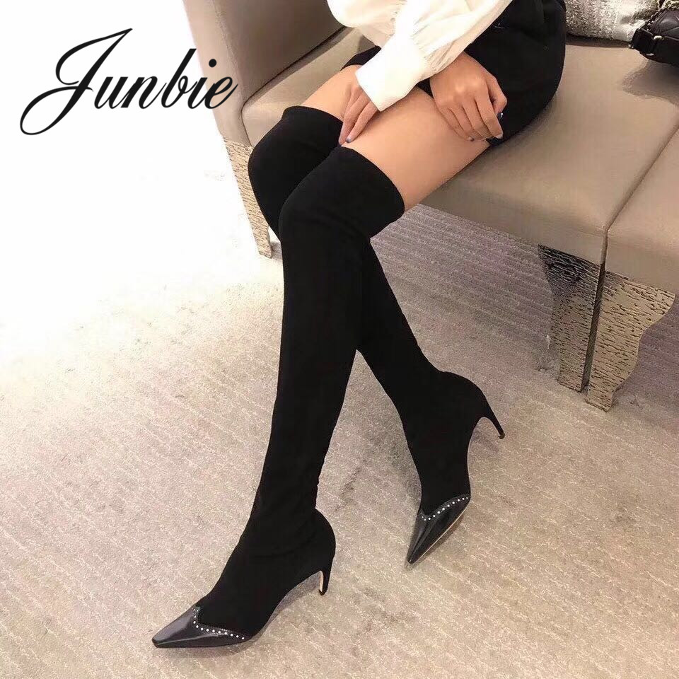 JUNBIE New Genuine Leather Gladiator Over The Knee HIgh Thigh High Boots Sexy Pointed Toe Kitten Heel Winter Long Boots Shoes