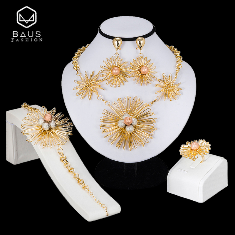 BAUS African jewelry sets Dubai Gold color big Nigerian jewelry sets Wholesale bridal bead wedding Jewelry set Women costume