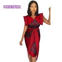 Fashion African Print Dress with Waist Belt for Women Bazin Riche Patchwork Dress Dashiki 100% Cotton African Clothing WY3146
