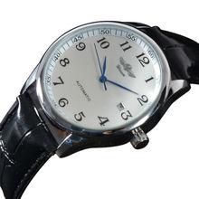 2015 moda marca ganador correa de cuero de lujo vestido de mecánico automático Auto viento hombres reloj análogo Auto fecha para hombre reloj