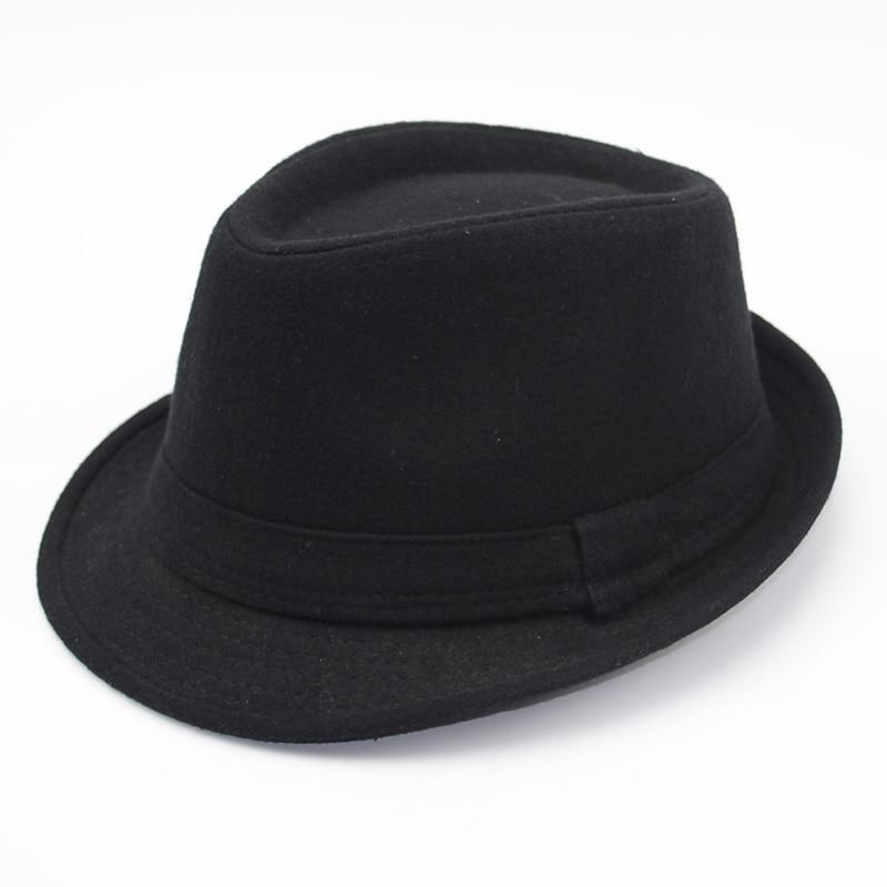 Autumn Men Wool Felt Hat for Men Leather Flat top Jazz Caps Wide Brim Men Fedora Hats Brief Style Chapeau